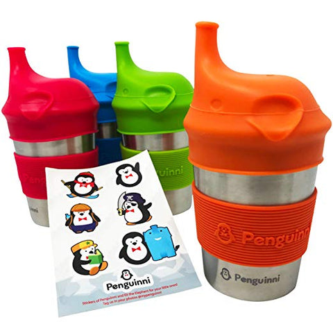 Penguinni, no-plastic, leak-proof, light-weight, easy-to-clean, silicone steel Sippy Cups