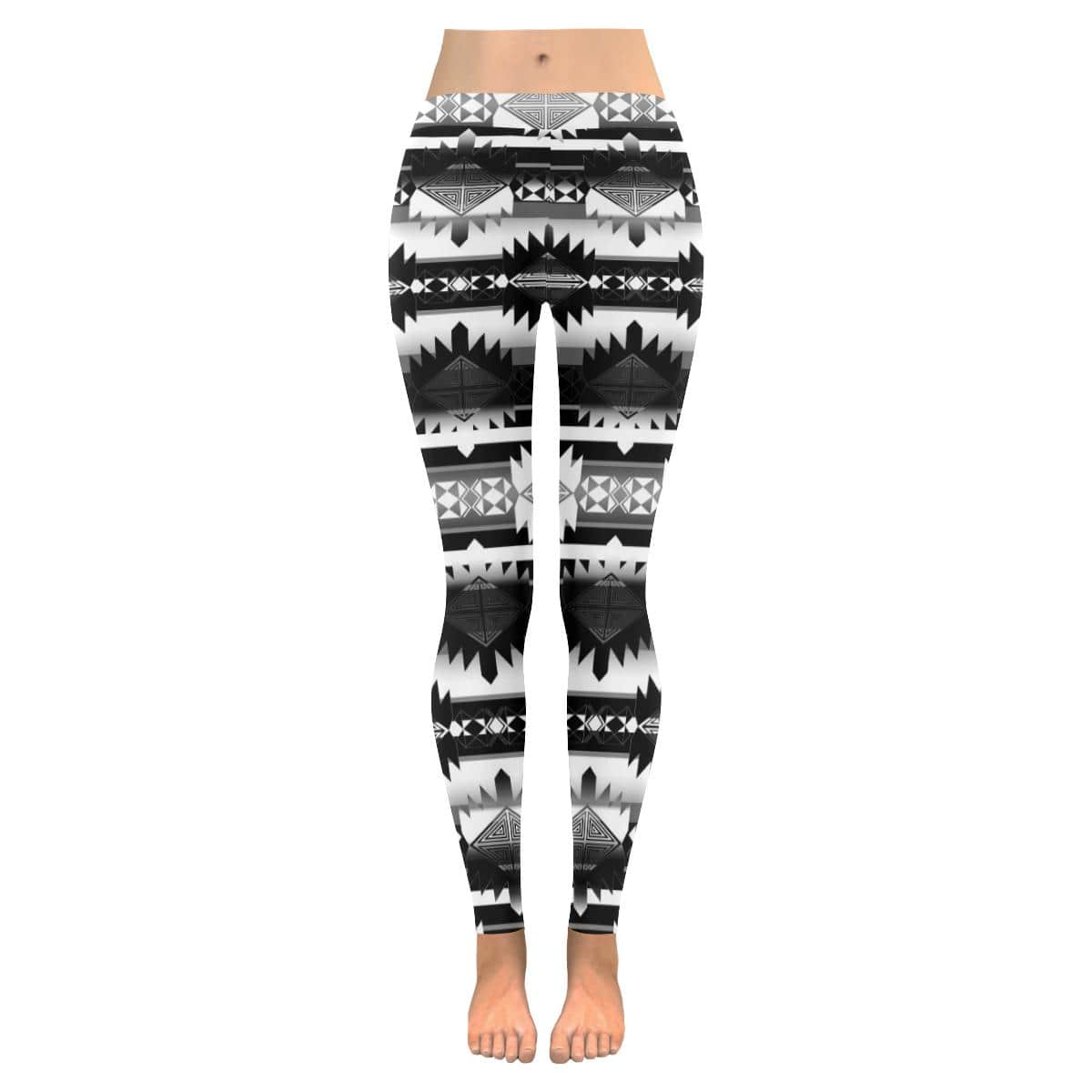 Okotoks Black and White Low Rise Leggings (Invisible Stitch) (Model L05)