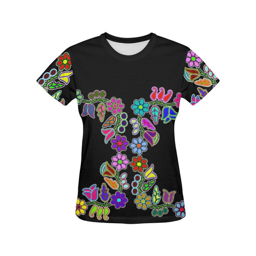 4 Generations Floral All Over Print T-shirt for Women/Large Size (USA Size) (Model T40) All Over Print T-Shirt for Women/Large (T40) e-joyer