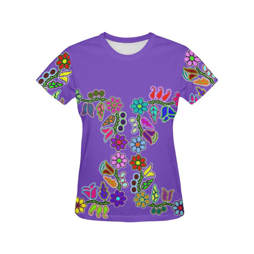 4 Generations Floral Moon Shadow All Over Print T-shirt for Women/Large Size (USA Size) (Model T40) All Over Print T-Shirt for Women/Large (T40) e-joyer