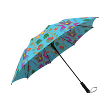 Geometric Floral Fall-Sky Blue Semi-Automatic Foldable Umbrella