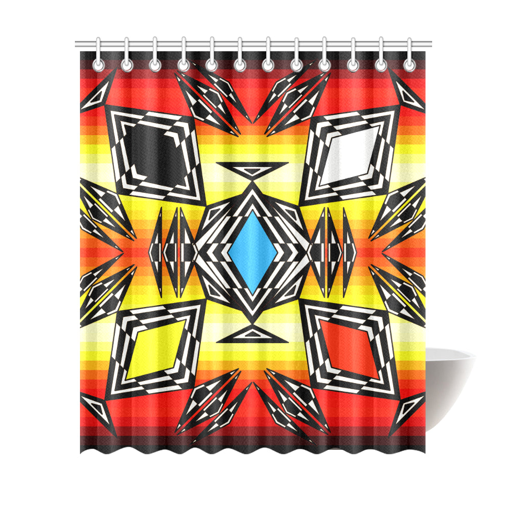 Prairie Fire Medicine Wheel Shower Curtain 72