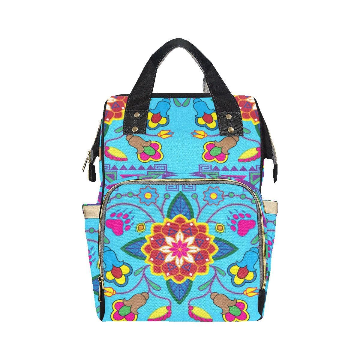 Geometric Floral Winter-Sky Blue Multi-Function Diaper Backpack (Model 1688)