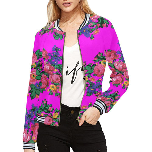 Kokum's Revenge  Blush All Over Print Bomber Jacket for Women (Model H21)