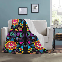 "Geometric Floral Winter - Black Ultra-Soft Micro Fleece Blanket 50""x60"""