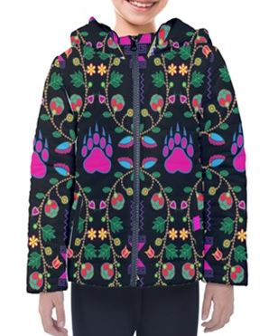 Geometric Floral Fall Black Design Insulated Winter Coat for Kids