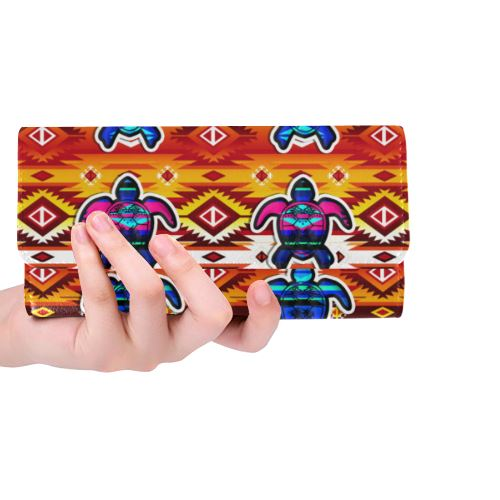 Adobe Fire Turtle Colored Women's Trifold Wallet (Model 1675) Women's Trifold Wallet e-joyer