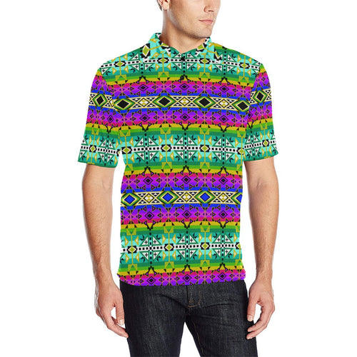 After the Northwest Rain Men's All Over Print Polo Shirt (Model T55) Men's Polo Shirt (Model T55) e-joyer