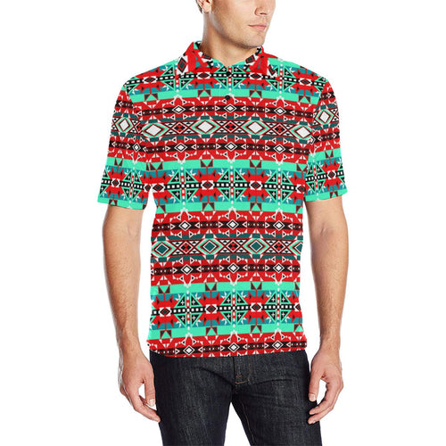 After the Southwest Rain Men's All Over Print Polo Shirt (Model T55) Men's Polo Shirt (Model T55) e-joyer