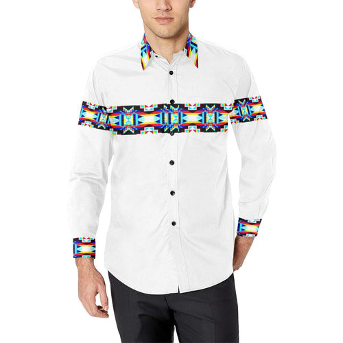 Banded Strip White-1 Men's All Over Print Casual Dress Shirt (Model T61) Men's Dress Shirt (T61) e-joyer