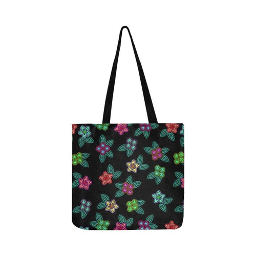 Berry Flowers Black Reusable Shopping Bag Model 1660 (Two sides) Shopping Tote Bag (1660) e-joyer