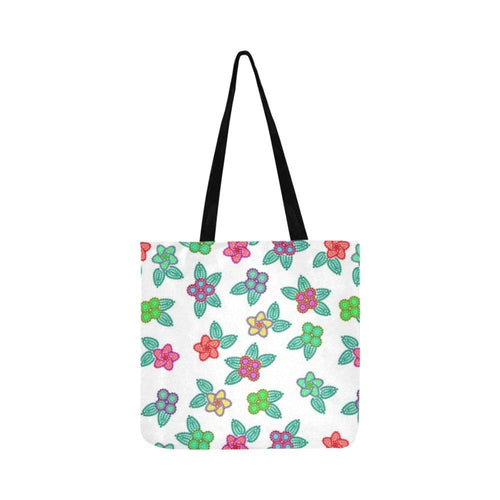 Berry Flowers White Reusable Shopping Bag Model 1660 (Two sides) Shopping Tote Bag (1660) e-joyer