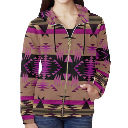Between the Mountains Berry All Over Print Full Zip Hoodie for Women (Model H14) All Over Print Full Zip Hoodie for Women (H14) e-joyer