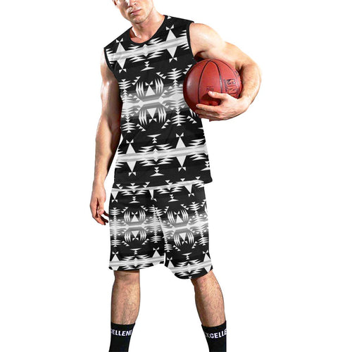 Between the Mountains Black and White All Over Print Basketball Uniform Basketball Uniform e-joyer