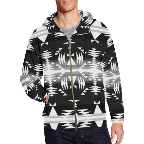 Between the Mountains Black and White All Over Print Full Zip Hoodie for Men/Large Size (Model H14) All Over Print Full Zip Hoodie for Men/Large (H14) e-joyer