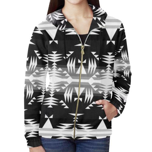 Between the Mountains Black and White All Over Print Full Zip Hoodie for Women (Model H14) All Over Print Full Zip Hoodie for Women (H14) e-joyer