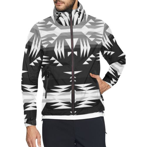 Between the Mountains Black and White All Over Print Windbreaker for Men (Model H23) All Over Print Windbreaker for Men (H23) e-joyer