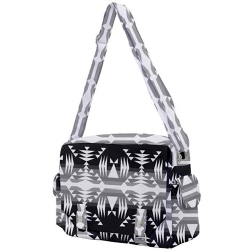 Between the Mountains Black and White Buckle Multifunction Bag 49 Dzine
