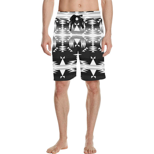 Between the Mountains Black and White Men's All Over Print Casual Shorts (Model L23) Men's Casual Shorts (L23) e-joyer