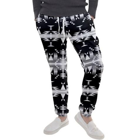 Between the Mountains Black and White Men's Jogger Sweatpants FullShirt 49 Dzine