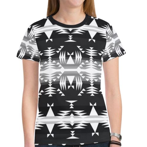Between the Mountains Black and White New All Over Print T-shirt for Women (Model T45) New All Over Print T-shirt for Women (T45) e-joyer