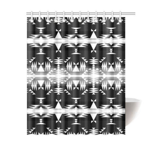 Between the Mountains Black and White Shower Curtain 60