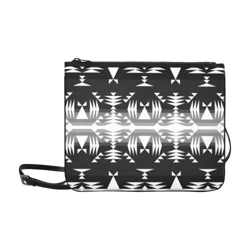 Between the Mountains Black and White Slim Clutch Bag (Model 1668) Slim Clutch Bags (1668) e-joyer