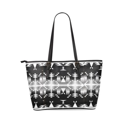 Between the Mountains Black and White Tote Bag/Large (Model 1640) Leather Tote Bag (1640) e-joyer