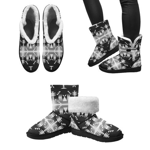 Between the Mountains Black and White Unisex Single Button Snow Boots (Model 051) Unisex Single Button Snow Boots (051) e-joyer