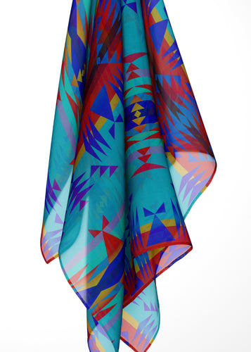 Between the Mountains Blue Large Square Chiffon Scarf fashion-scarves 49 Dzine