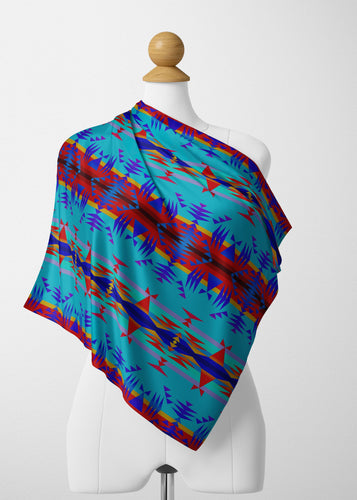 Between the Mountains Blue Satin Shawl Scarf 49 Dzine