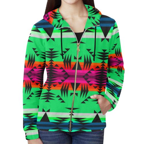 Between the Mountains Deep Lake All Over Print Full Zip Hoodie for Women (Model H14) All Over Print Full Zip Hoodie for Women (H14) e-joyer