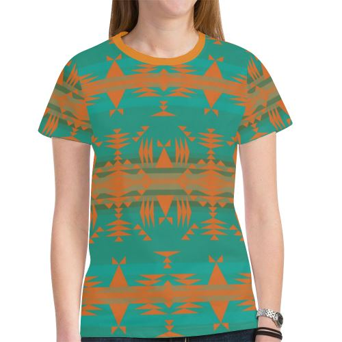 Between the Mountains Deep Lake Orange New All Over Print T-shirt for Women (Model T45) New All Over Print T-shirt for Women (T45) e-joyer