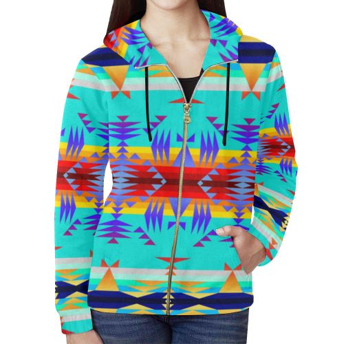 Between the Mountains Fire All Over Print Full Zip Hoodie for Women (Model H14) All Over Print Full Zip Hoodie for Women (H14) e-joyer