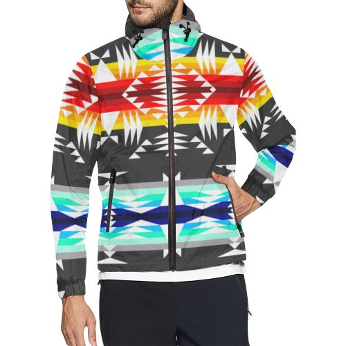 Between the Mountains Gray All Over Print Windbreaker for Men (Model H23) All Over Print Windbreaker for Men (H23) e-joyer
