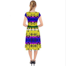 Between the Mountains Greasy Yellow Cap Sleeve Front Wrap Midi Dress 49 Dzine
