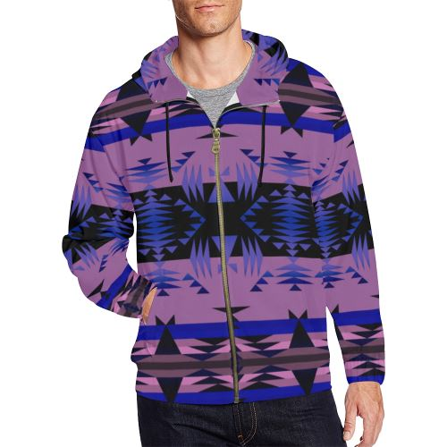 Between the Mountains Moon Shadow All Over Print Full Zip Hoodie for Men/Large Size (Model H14) All Over Print Full Zip Hoodie for Men/Large (H14) e-joyer