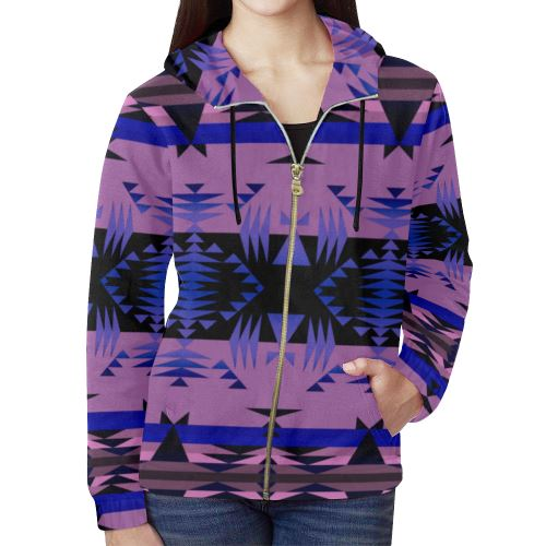 Between the Mountains Moon Shadow All Over Print Full Zip Hoodie for Women (Model H14) All Over Print Full Zip Hoodie for Women (H14) e-joyer