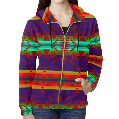 Between the Mountains Moon Shadow Sierra All Over Print Full Zip Hoodie for Women (Model H14) All Over Print Full Zip Hoodie for Women (H14) e-joyer