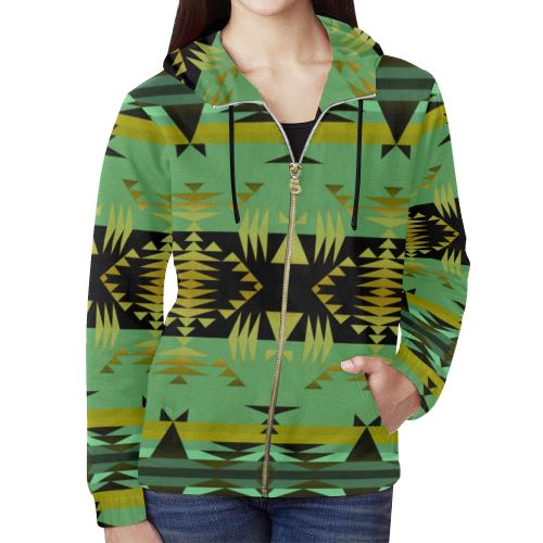 Between the Mountains Sage All Over Print Full Zip Hoodie for Women (Model H14) All Over Print Full Zip Hoodie for Women (H14) e-joyer