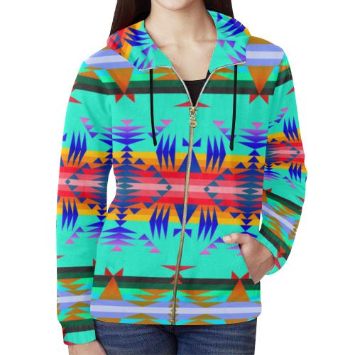 Between the Mountains Spring All Over Print Full Zip Hoodie for Women (Model H14) All Over Print Full Zip Hoodie for Women (H14) e-joyer
