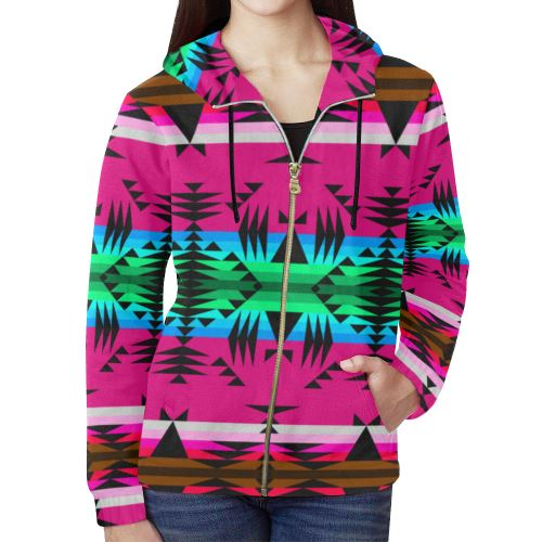 Between the Mountains Sunset All Over Print Full Zip Hoodie for Women (Model H14) All Over Print Full Zip Hoodie for Women (H14) e-joyer