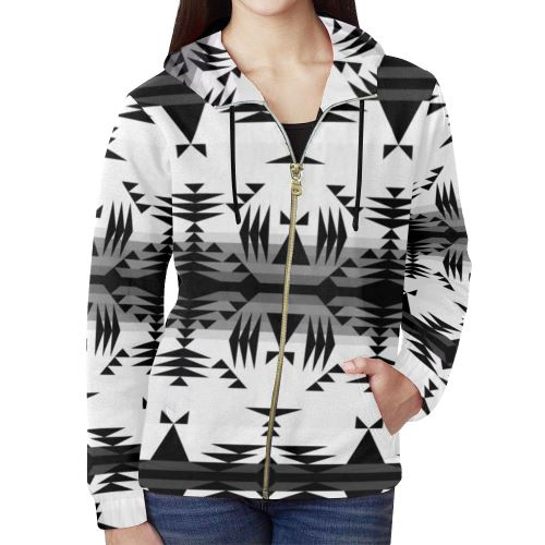 Between the Mountains White and Black All Over Print Full Zip Hoodie for Women (Model H14) All Over Print Full Zip Hoodie for Women (H14) e-joyer