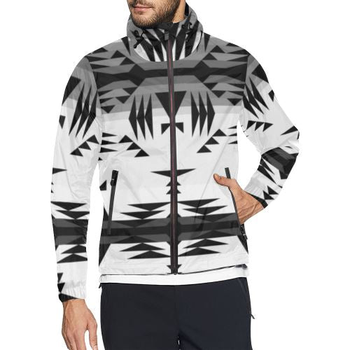 Between the Mountains White and Black All Over Print Windbreaker for Men (Model H23) All Over Print Windbreaker for Men (H23) e-joyer