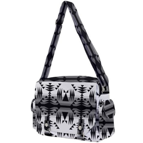 Between the Mountains White and Black Buckle Multifunction Bag 49 Dzine