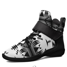 Between the Mountains White and Black Kid's Ipottaa Basketball / Sport High Top Shoes 49 Dzine US Child 12.5 / EUR 30 Black Sole with Black Strap