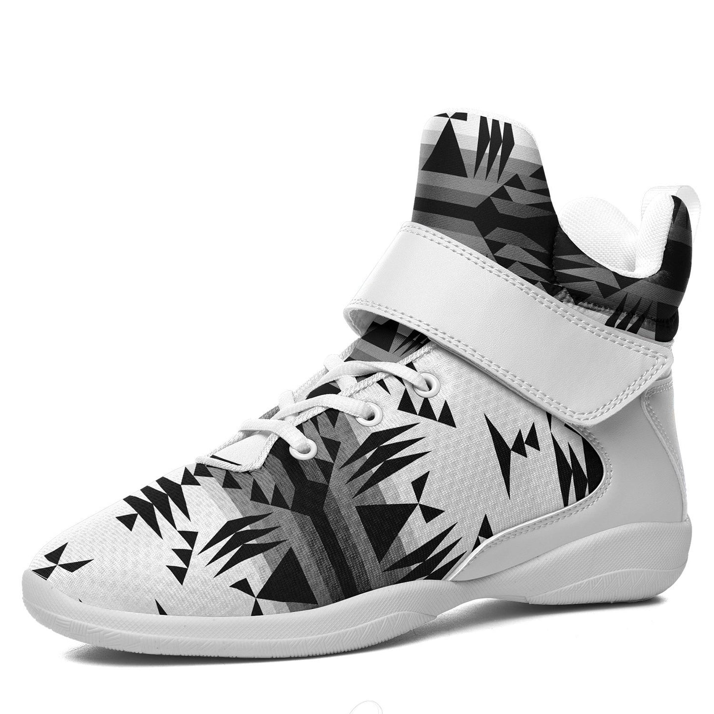 Between the Mountains White and Black Kid's Ipottaa Basketball / Sport High Top Shoes 49 Dzine US Child 12.5 / EUR 30 White Sole with White Strap