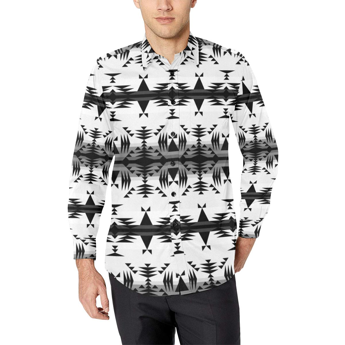 Between the Mountains White and Black Men's All Over Print Casual Dress Shirt (Model T61) Men's Dress Shirt (T61) e-joyer