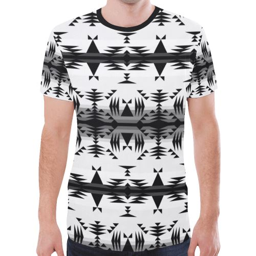 Between the Mountains White and Black New All Over Print T-shirt for Men/Large Size (Model T45) New All Over Print T-shirt for Men/Large (T45) e-joyer