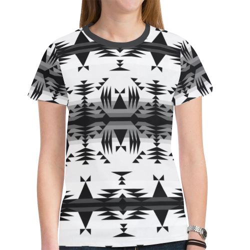 Between the Mountains White and Black New All Over Print T-shirt for Women (Model T45) New All Over Print T-shirt for Women (T45) e-joyer